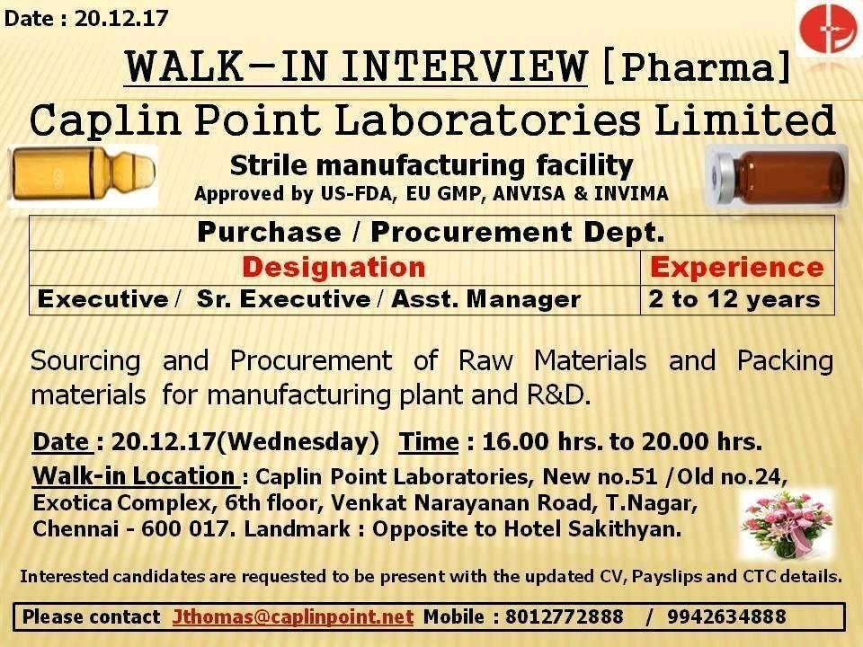 walk in interviews at caplin point laboratories, Chennai