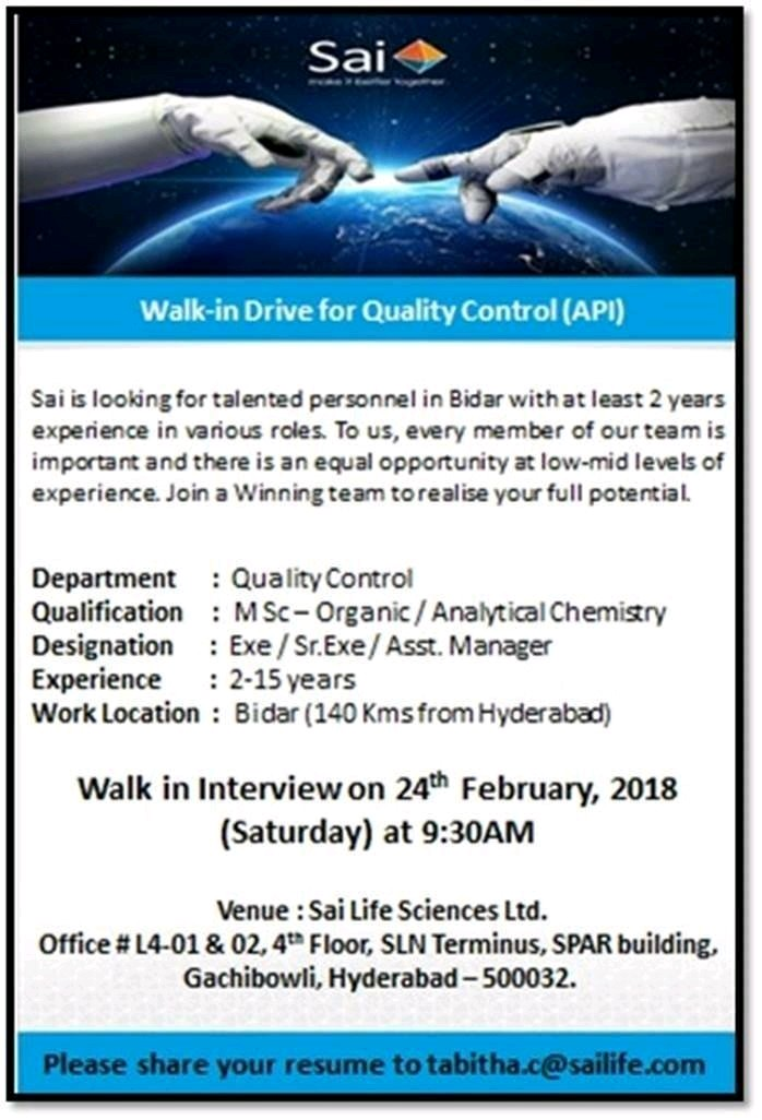 Walk in at mankind pharma and sai life sciences - Pharmaclub in