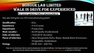 pharma vacancies honour labs