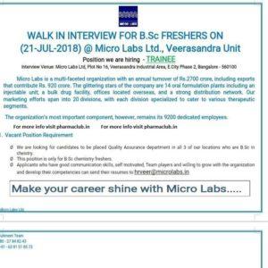 pharma jobs micro labs