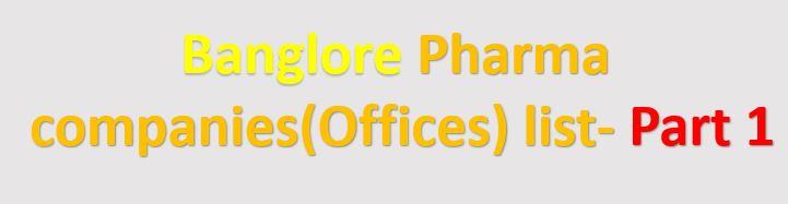 banglore pharma company