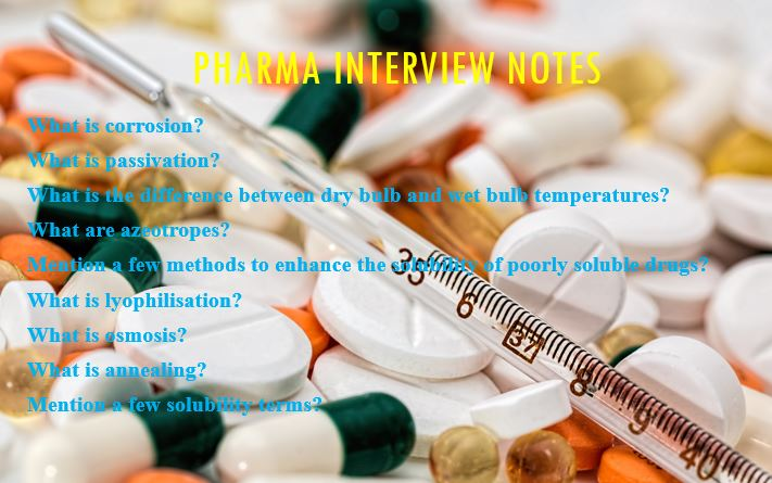 pharma interview notes which are not covered in the previous posts.